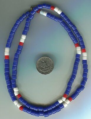 African Trade beads Vintage Czech Bohemian glass blue tile beads