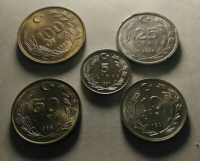 Turkey 5 different coins 1980s