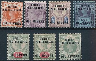 [55331] Niger Coast Oil Rivers 1892 good lot of MH F/VF overprinted stamps