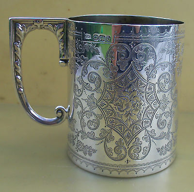 Fine Antique Victorian sterling silver engraved mug, 221 grams, 1894