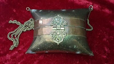 Vintage Brass Clutch coin Bag Purse with Copper banding and chain