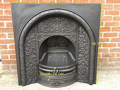 Victorian Style Arched Cast Iron Fireplace Insert With Stunning Detailing