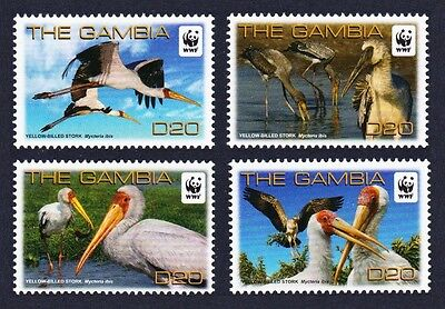 SALE Gambia Birds WWF Yellow-billed Stork 4v