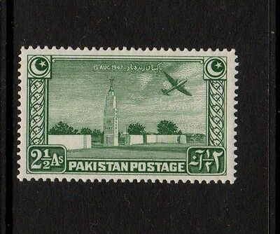 PAKISTAN 1948 2 1/2a GREEN - Mounted Mint - KARACHI AIRPORT