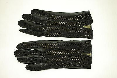 Vintage Womens Black Kid Leather Driving Gloves With Lace Detail Size 7 W207