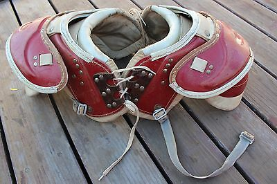 Vintage 1950s Leather Lock Stitched Football Shoulder Pads Red Spalding Rawlings