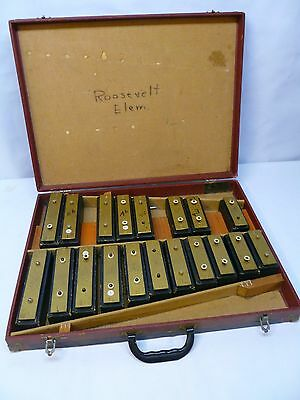 Vtg Student Percussion Bell Kit Xylophone Wood Block Bells in Case