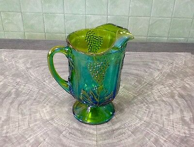 "Vintage Indiana Carnival Glass 10 1/2"" Pitcher Iridescent Lime Green Pattern"