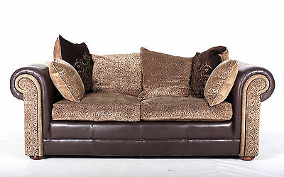 Chesterfield Sofa 2 Seater Leather Fabric Settee