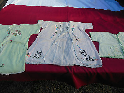 Lot of 3 Old Flannel Baby Jackets/Robes, Hand Embroidered & Sewn, Good/Used Cond