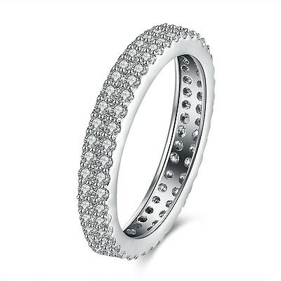 Engagement Band Jewelry Clear Rhinestone Crystal White Gold Silver Filled Rings