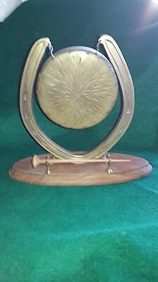 Vintage Large Brass Horseshoe Dinner Gong Complete With Mallet