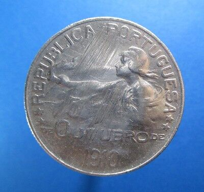 Portugal Escudo 1910 Silver Republic Burth Km 560 #r367#