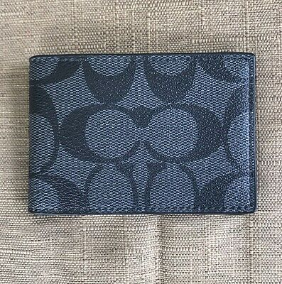 New Coach Men's Heritage Signature Pvc And Leather Slim Card  Id Case / Holder