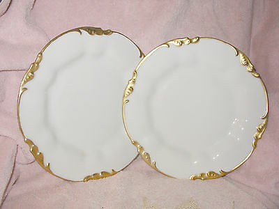 "Antique Haviland JP Limoges France White w Gold Scallop 9.5"" Dinner Plate Green"
