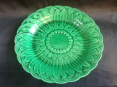Antique Wedgwood Green Majolica Sunflower & Basket Weave Plate