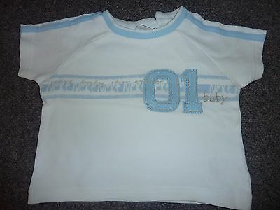 Boys Next blue and white short sleeved t shirt age 0 - 3 months