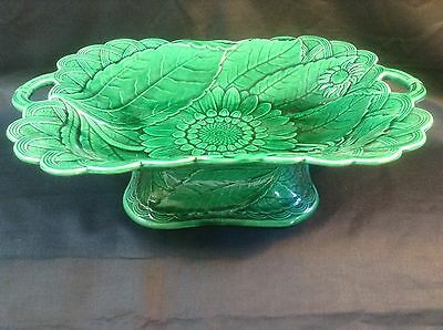Antique Wedgwood Green Majolica Footed Bowl/dish