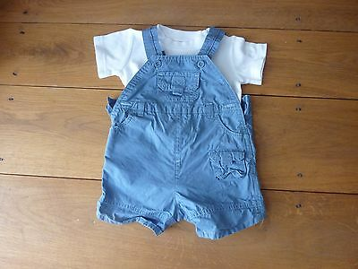 Cute baby boys dungaree short and t shirt outfit age 0 - 3 months