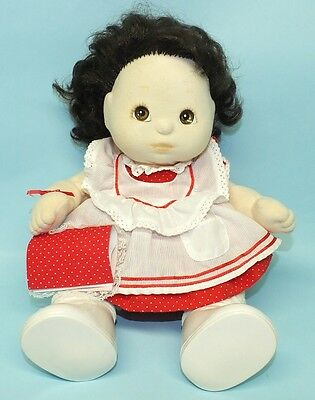 MATTEL MY CHILD DOLL BRUNETTE BROWN EYES w/RED PINAFORE OUTFIT, RARE BEAR & BOOK