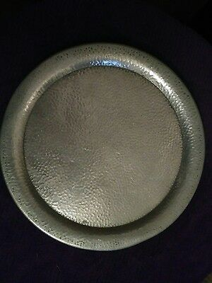 Platter Plate Pewter Vintage Serving Tray Dish Bread Pewter