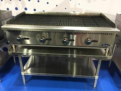 "New 48"" Radiant Char Broiler With Stainless Equipment Stand Package Deal Gas"