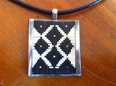 Ethnic Tribal Weaved Sterling Silver 925 Square Pendant on Rubber Necklace