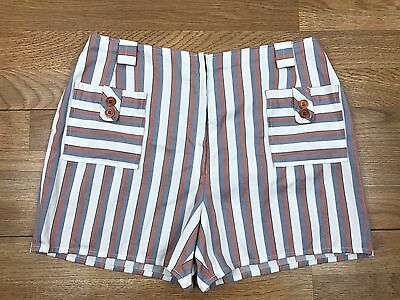 Women's Vintage 1960s Shorts Striped Gray Orange Accent Pockets Front Zip S M