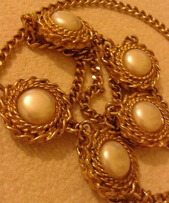 Vintage 80s gold tone chunky long necklace