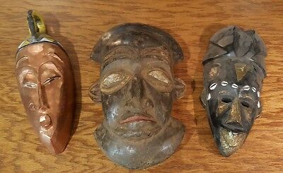 (3) Three Vintage Ivory Coast African Tribal Mask Hand Crafted Collector Owned