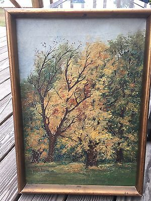 Early Impressionist Oil On Canvas Painting Autumn Landscape Signed Krafft 1910