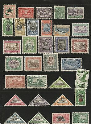 Nice lot Mh-used Liberia 1910's-1940's inc BOB.