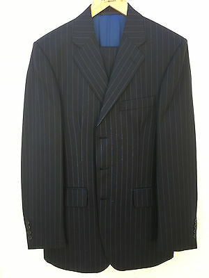 Aquascutum Mens Pinstriped Suit - Navy with light blue pinstripe - Outstanding