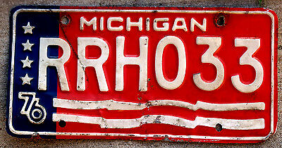 1976 Red White and Blue Michigan Bicentennial License Plate