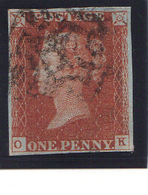 Penny red Plate 44  (OK) 4 margins with Maltese cross cancellation.