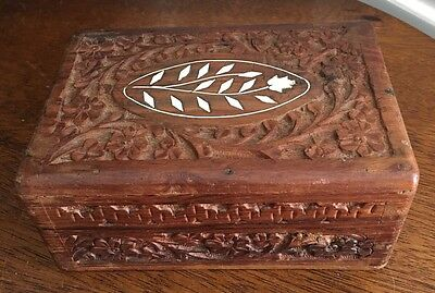 Vintage Hand Carved Wooden Box From India With White Inlay