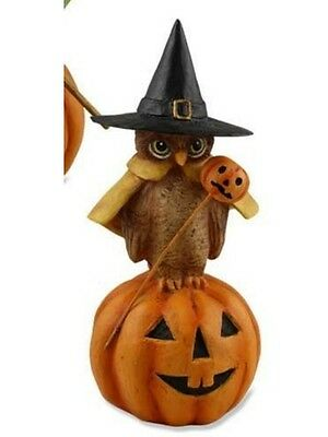 """Bethany Lowe Designs """"Witch Owl On Pumpkin with Pumpkin Stick"""" TD1335"""