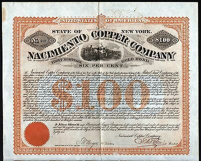 1881 New York: Nacimiento Copper Company - uncancelled Gold Bond with coupons