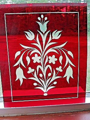 BOSTON & SANDWICH NEGC RUBY RED OVERLAY 14-7/8 x 17-7/8 CUT TO CLEAR GLASS PANE