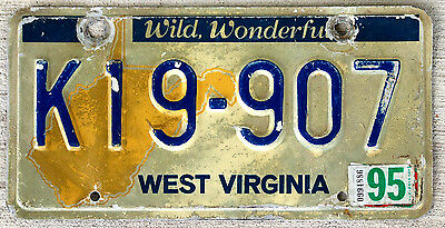 """West Virginia State Outline License Plate """"Wild, Wonderful"""" with 1995 Sticker"""