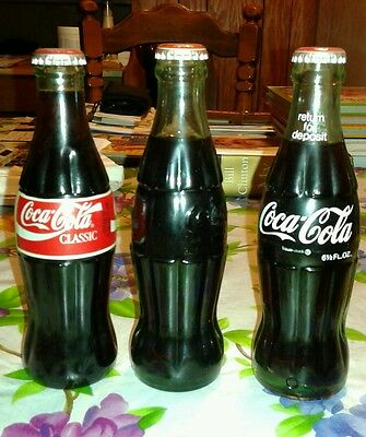 Lot of 3 Vintage Coca-Cola Coke Bottles