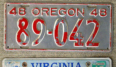 1948 Red on Silver Oregon License Plate