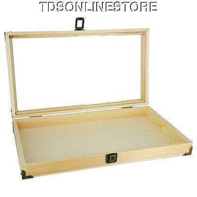 Natural Wood Glass Top Display Case With Brass Corners #2