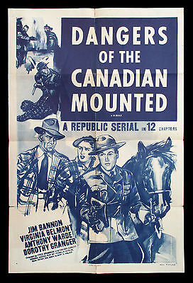 DANGERS OF THE CANADIAN MOUNTED orig US one-sheet movie poster RCMP MOUNTIES