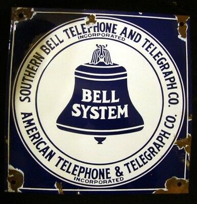 "Rare Porcelain Southern Bell Telephone & Telegraph Co Sign 11"" X 11"""