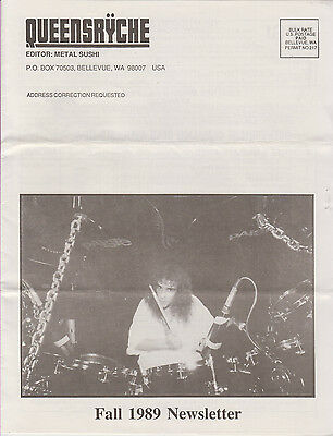 Queensryche Fan Club Newsletter	Magazine Fall 1989 B/W 8 pages Rare Metal Sushi