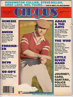 Circus Magazine January 31 1982 Phil Collins Genesis Queen GO-GO's Adam Ant WHO