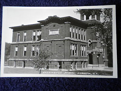 Vintage Rppc Washington School Hornell Ny Post Card New York