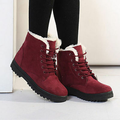Women's Winter Warm Flat Lace Up Fur Lined Martin Boots Snow Ankle Boots