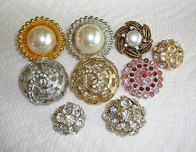Lot of 9 Vintage Rhinestone & Faux Pearl Buttons